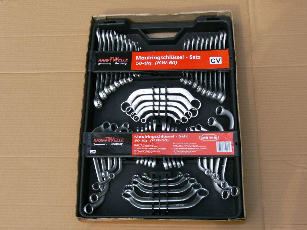 Kombinovaný klíč set, 50 kusů chrom-vanadiová ocel, chromované 50 kombinované klíče v metrických i inch kraftwelle