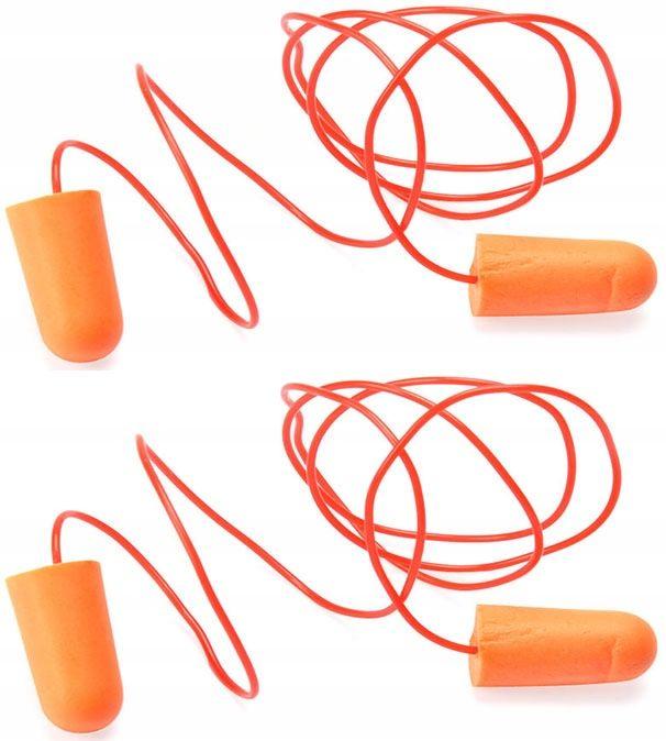 Tlumící ušní špunty - 1 sada ochrana sluchu propojené šnůrkou GEKO